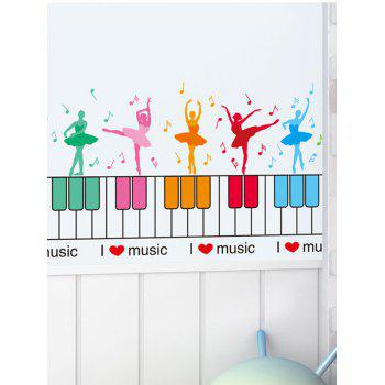 Dancing Girl Piano Wall Sticker for Nursery