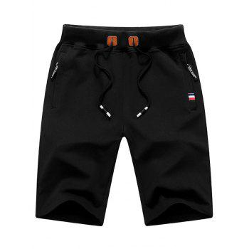 Zip Up Pockets PU Leather Applique Sweat Shorts