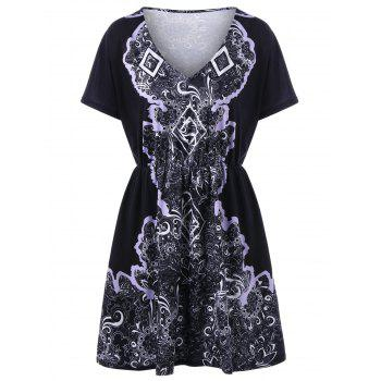 Plus Size V Neck Print Mini Dress