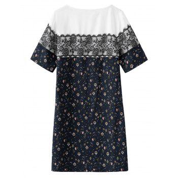 Lace Trim Plus Size Print Dress - 4XL 4XL