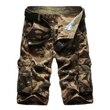 Camouflage Zipper Fly Pockets Cargo Shorts
