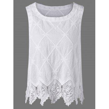 Linen Lace Crochet Trim Tank Top