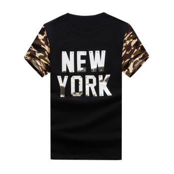 Graphic Metal Applique Camouflage Panel T-Shirt