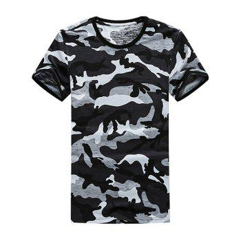 Crew Neck Cotton Stretchy Camouflage T-Shirt