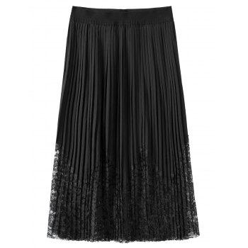 Lace Trim Pleated Plus Size Skirt