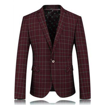 One Button Flap Pocket Grid Blazer