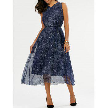 V Neck Galaxy Print Midi Chiffon Dress