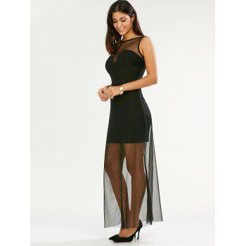 See Through Sleeveless Floor Length Dress - Noir XL