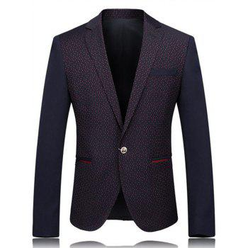 One Button Lapel Polka Dot Blazer