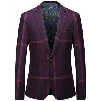 One Button Lapel Large Check Blazer