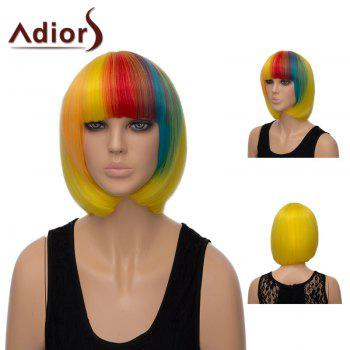 Adiors Short Colormix Silky Straight Neat Bang Bob Synthetic Wig