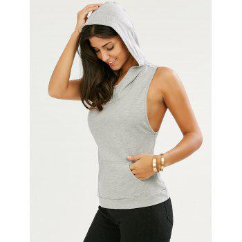 Sleeveless Kangaroo Pocket Cut Out Hoodie