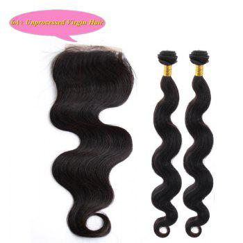 Fashion Body Wave 5A Indian Remy Hair With Closure 2 Pcs/Lot Natural Black Women's Human Hair Weave - BLACK 18INCH*18INCH*CLOSURE 16INCH