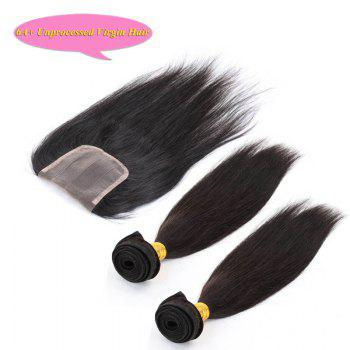 Fashion Natural Black 5A Remy Hair Straight Indian Hair Weave 2 Pcs/Lot With Closure For Women - 16INCH*18INCH*CLOSURE 14INCH 16INCH*18INCH*CLOSURE 14INCH