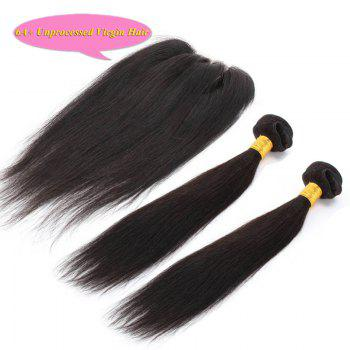 Fashion Natural Black 5A Remy Hair Straight Indian Hair Weave 2 Pcs/Lot With Closure For Women - BLACK BLACK