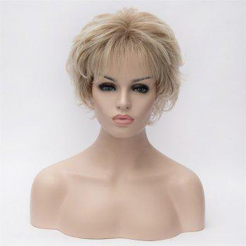 Dark Root Full Bang Tilt Short Wavy Heat Resistant Synthetic Hair Noble Elegant Women's Blonde Bouffant Wig