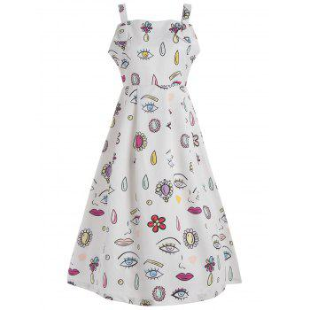 Eye Printed Sleeveless Vintage Dress