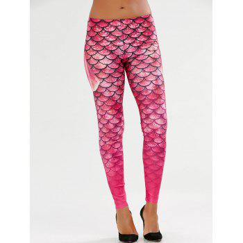 Elastic Waist Scale Print Mermaid Leggings - PINK PINK