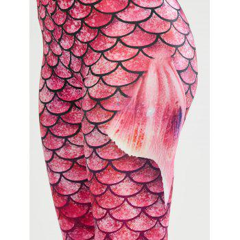Elastic Waist Scale Print Mermaid Leggings - XL XL