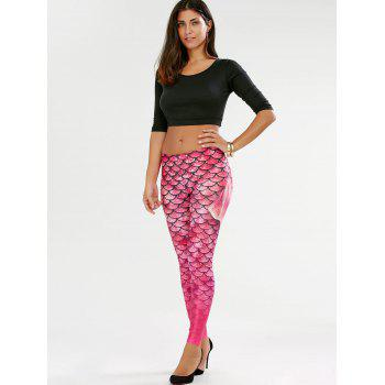 Elastic Waist Scale Print Mermaid Leggings - PINK XL