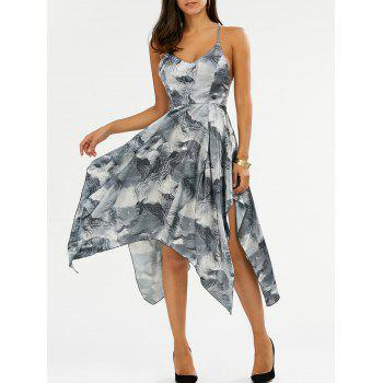 Printed Asymmetric Open Back Cami Dress