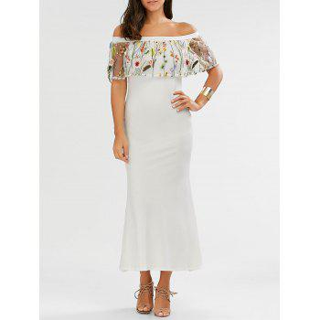 Off Shoulder Flounce Embroidered Mermaid Maxi Dress