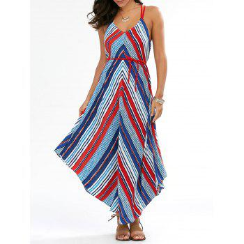 Chevron Handkerchief Backless Casual Summer Maxi Dress