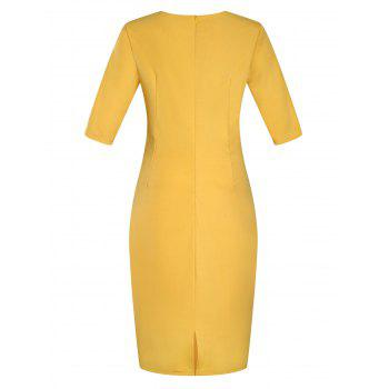 Plus Size Embellished Ruched Modest Work Fitted Dress - YELLOW 3XL