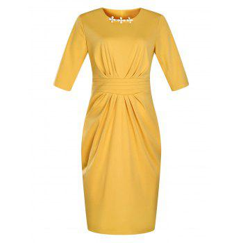 Plus Size Embellished Ruched Modest Work Fitted Dress - YELLOW YELLOW