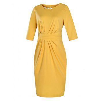 Plus Size Embellished Ruched Modest Work Fitted Dress - YELLOW 5XL