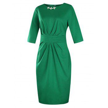 Plus Size Embellished Ruched Modest Work Fitted Dress - GREEN GREEN