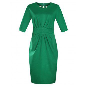 Plus Size Embellished Ruched Modest Work Fitted Dress