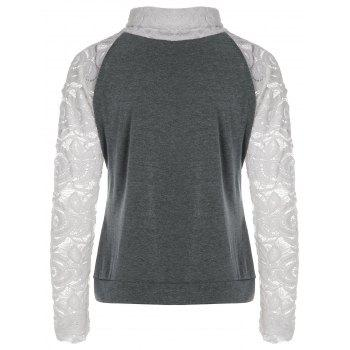Stylish Long Sleeve Turtleneck Knitting Spliced Women's T-Shirt - GRAY 2XL