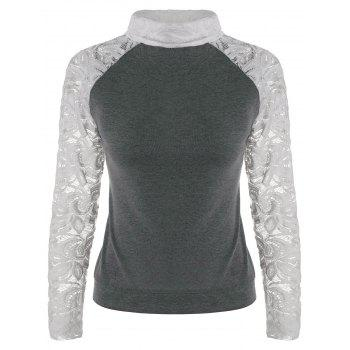Stylish Long Sleeve Turtleneck Knitting Spliced Women's T-Shirt - GRAY GRAY