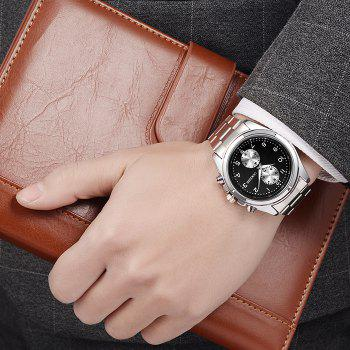 OUKESHI Steel Strap Number Watch - BLACK