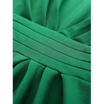Plus Size Embellished Ruched Modest Work Fitted Dress - GREEN 5XL