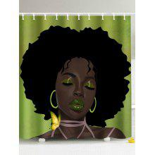 Afro Hair Lady Immersed In Her Own World Pattern Shower Curtain