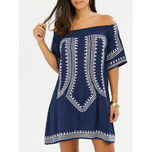 Off The Shoulder Embroidered Mini Shift Dress