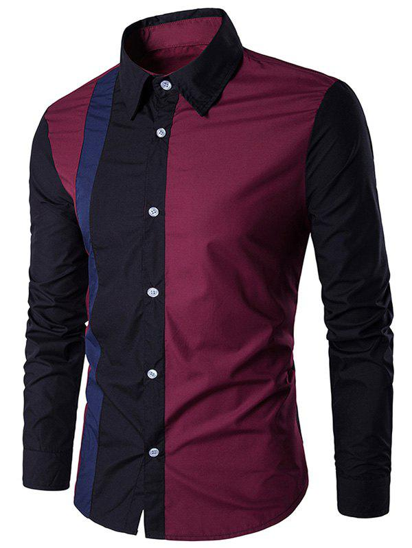 Color Block Long Sleeve Panel Shirt - BLACK XL