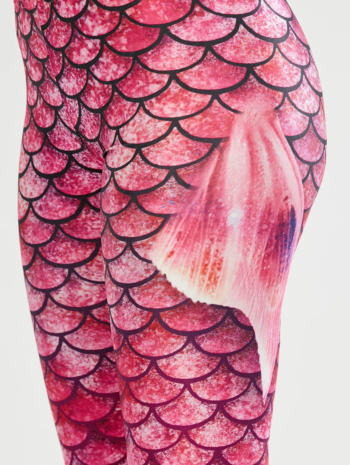 Elastic Waist Scale Print Mermaid Leggings - PINK S