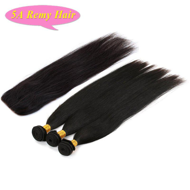 3 Pcs/Lot With Closure Fashionable Natural Black Free Part Straight Women's 5A Indian Remy Hair Weave free shipping free part virgin brazilian hair silk base closure 4x4 natural color straight silk top closure