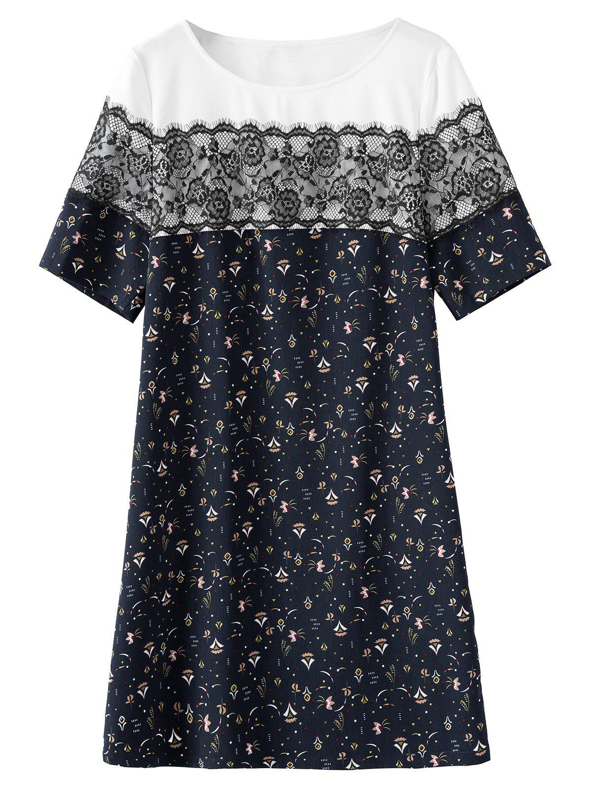 Lace Trim Plus Size Print Dress - PURPLISH BLUE 3XL