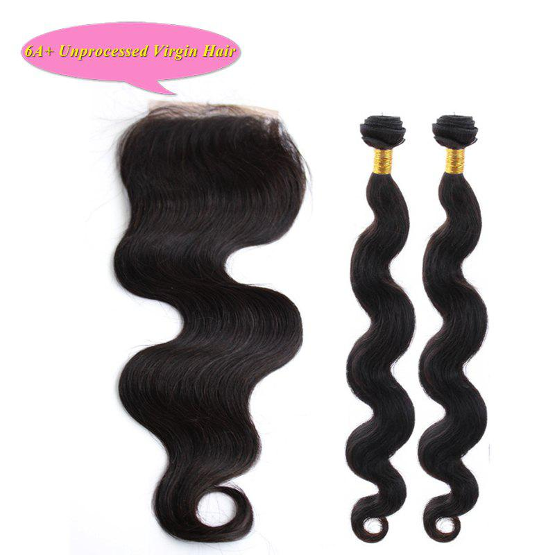 Fashion Body Wave 5A Indian Remy Hair With Closure 2 Pcs/Lot Natural Black Women's Human Hair Weave hot selling free part body wave lace closure 100% human hair peruvian hair closure pieces ombre color 1b grey hair for women
