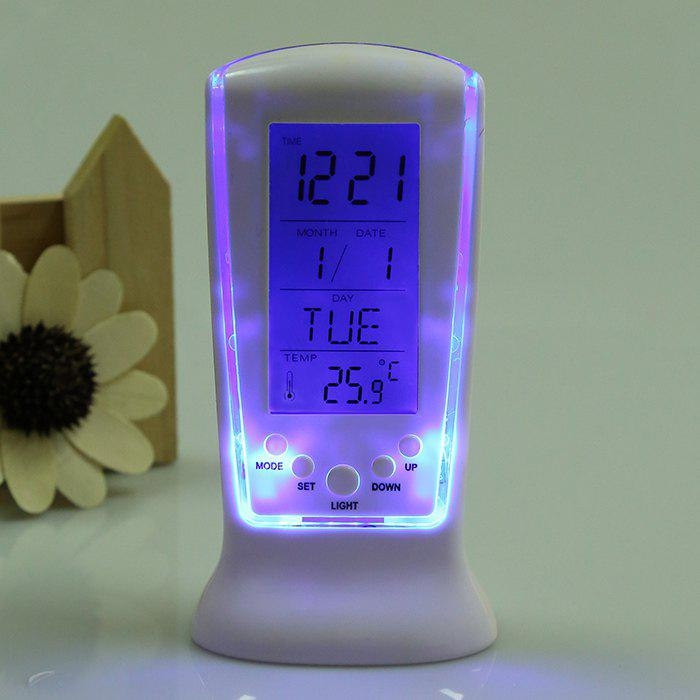 Multifunction LCD Digital Alarm Clock - WHITE