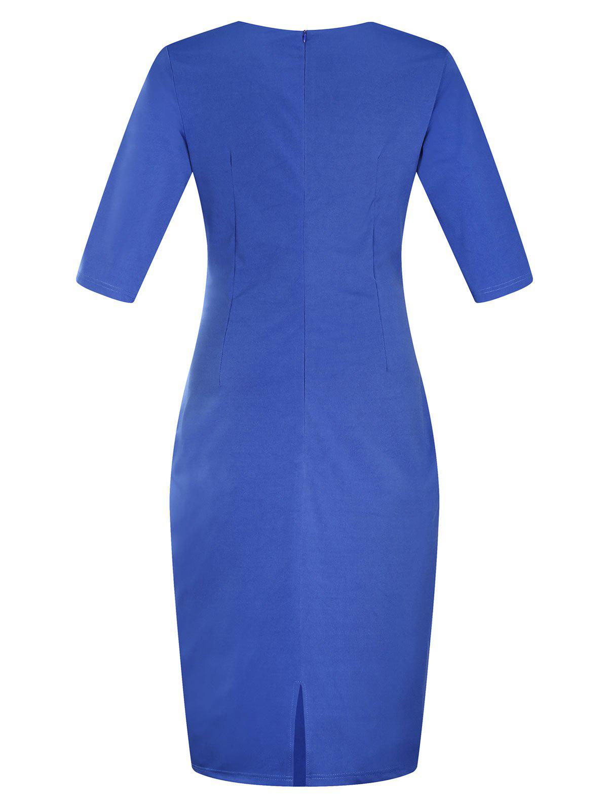 Plus Size Embellished Ruched Modest Work Fitted Dress - BLUE 4XL
