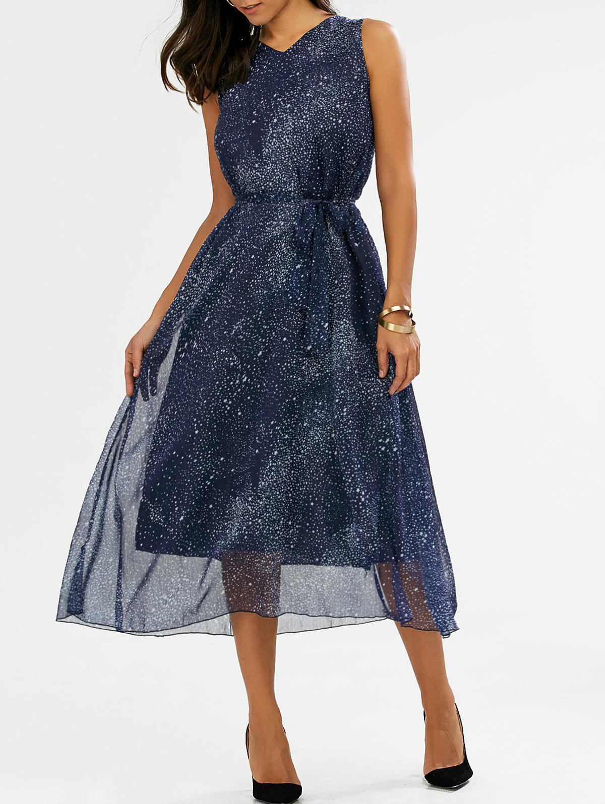 V Neck Galaxy Print Midi Chiffon Dress - BLUE XL