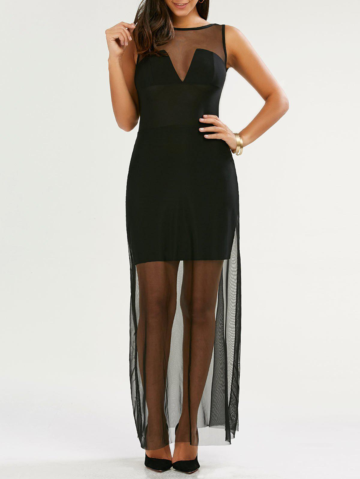 See Through Sleeveless Floor Length Dress - BLACK XL