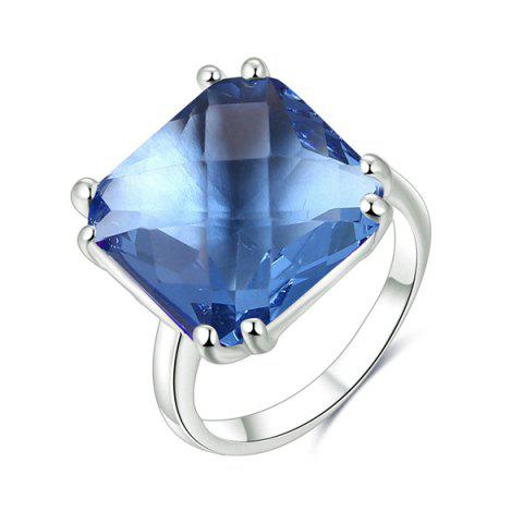 Square Rhinestone Circle Ring - BLUE 8