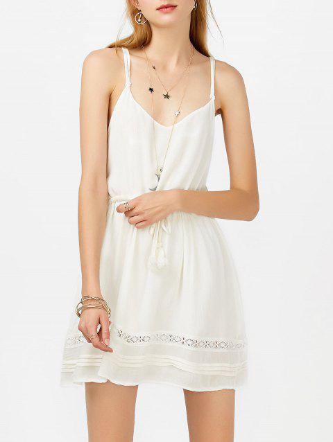 Tasseled Drawstring Mini Slip Sundress - Blanc M