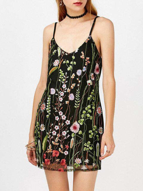 Mesh Overlay Floral Embroidered Bodycon Summer Dress - BLACK S